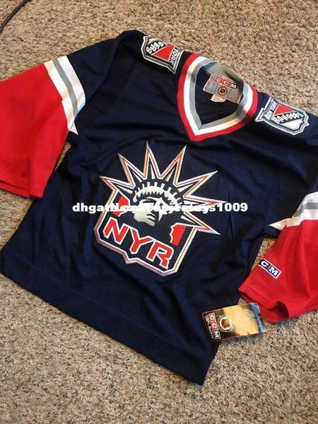 Barato personalizado RARA NYR ESTÁTUA DA LIBERTY CCM New York Rangers Azul Jersey Mens personalizado costura jerseys