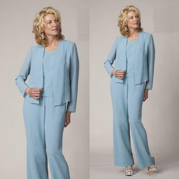2019 Mütevazı Açık Mavi Anne Gelin Pant Suits Zarif Örgün Abiye Artı Boyutu Basit Elbiseler