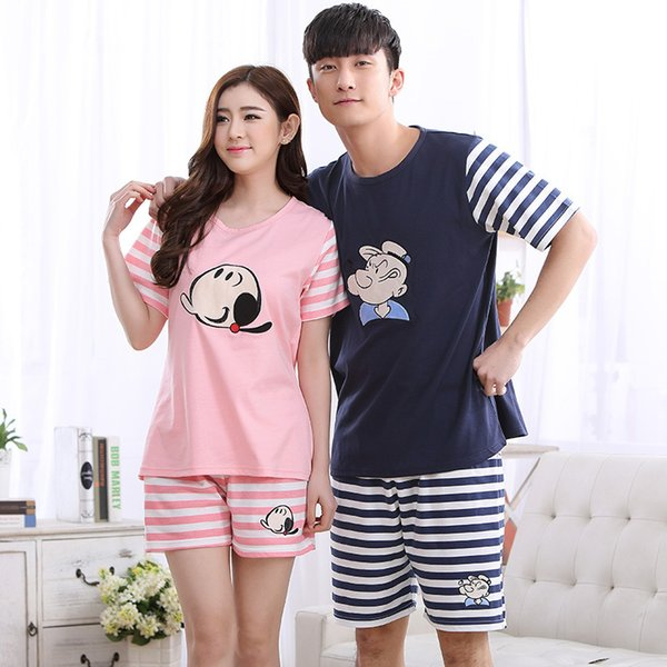 Summer Cotton Striped Pajama Sets Couples Sleepwear Women Pajamas Pijama Hombre Masculino Cartoon Pyjamas Men's Pajamas Homewear T2190613
