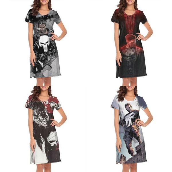 Женский дизайн печати каратель плакат белый ночная рубашка платье рубашка дизайнер полоса лозунг, одежда хлопок модный музыкально классический