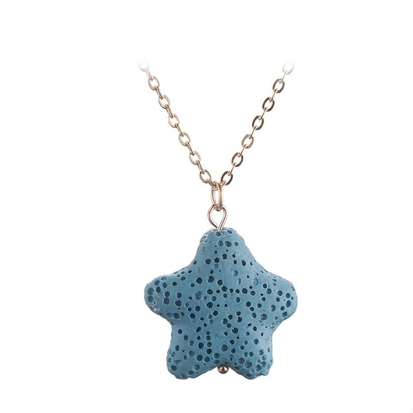 4 color Lava Rock necklace Essential Oil Diffuser Heart Star shape Natural Stone Pendant Gold chain For women Aromatherapy Fashion Jewelry