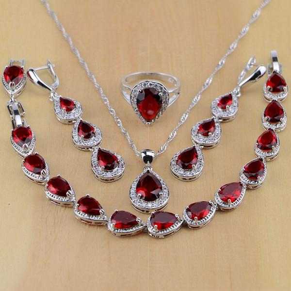Water Drop 925 Sterling Silver Jewelry Red Cubic Zirconia White CZ Jewelry Sets Women Earrings/Pendant/Necklace/Rings/Bracelet