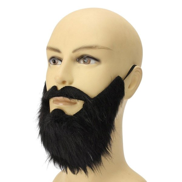 Long Fluff Fake Black Beard False Moustache Elasticated Halloween Party Prom Props Funny One Size Gift