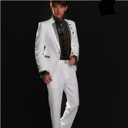 Guanying Bird Costume Men's White Black Sequins Suit Set Singer Siyi Host Costume Chorus