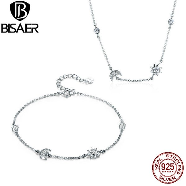 BISAER 925 Sterling Silver Jewelry Sets Moon And Star Tale Fashion Collar Necklaces Women Bracelet Sterling Silver 925 Jewelry