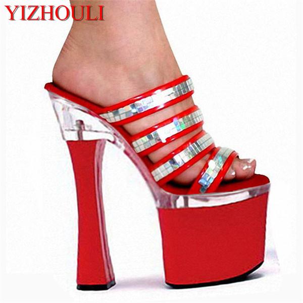 Moda 18cm biriktirme Topuklar Kadınlar Platformu Sandalet Bayan Seksi Punk Ayakkabı 7 inç Yüksek Topuklar Glitter Kadın Terlik