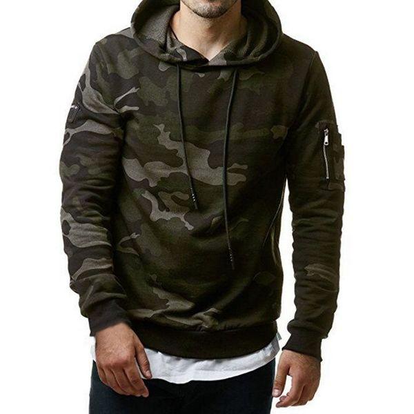 Autumn Camouflage Print Hoodies Men Hip Hop Drawstring Pullovers Streetwear Casual Camo Polerones Full Sleeve Hoodies Sweatshirt