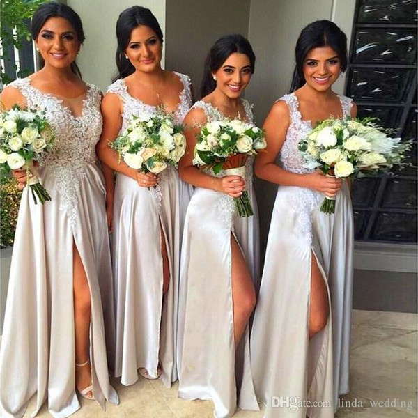 2019 Cheap Gray Silver Summer Country Garden Bridesmaid Dress Fancy New V-neck Wedding Party Guest Maid of Honor Gown Plus Size Custom Made