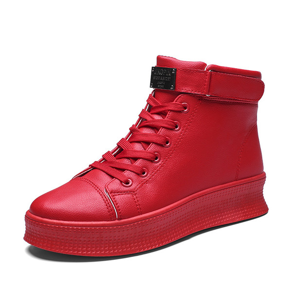 2019 Hot Sale Mens Punk Boots Designer Red Ankle Boots For Men Thick Soled Casual Shoes Mens Comfortable Pu Leather Male Boots