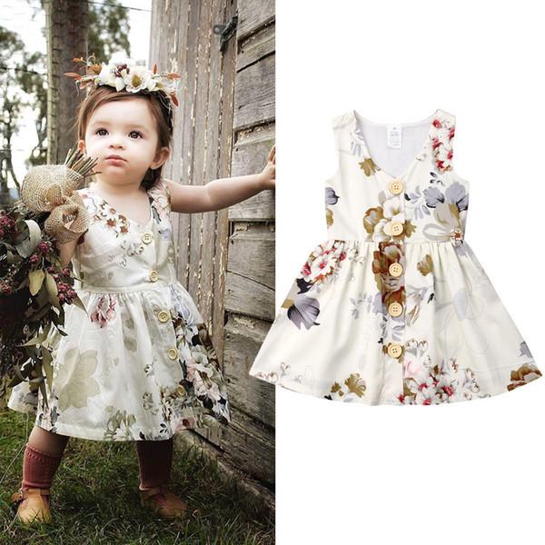Emmababy Enfant En Bas Âge Enfants Bébé Filles Robe Bouton Princesse Sans Manches Belle Robe De Fête Vêtements Robe Noire