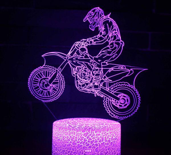 heißer Verkauf LED 3D Lampe LED Sensor-Nachtlicht-Atmosphären-Lampe des Motorrad-Modell-3D als Schlafzimmer-Dekorationsgroßverkauf