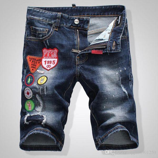 19ss Fashion Man Short Jeans Hip Hop Rock Moto Hombres Casual Designer Shorts Jeans Apenado Skinny Men Denim Biker Jeans