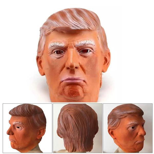 Donald Trump Costume Mask Halloween Realistic Latex Masquerade Carnival Mask Hood Celebrity Face COS Star Imitation Show