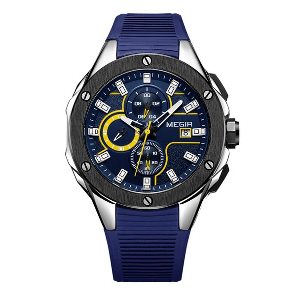 MEGIR nouvelle mode sport montre à quartz multi-fonction montre étanche silicone bracelet de quartz robe de quartz montre-bracelet