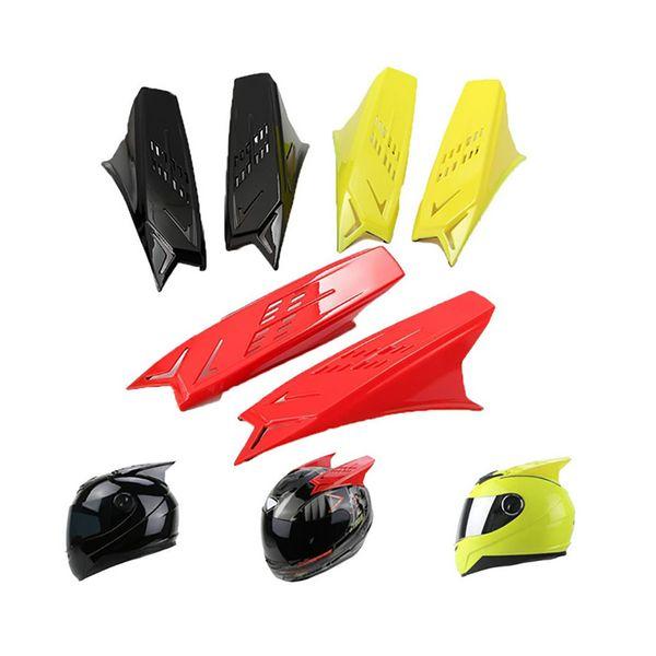2 pezzi casco da corsa corna da orecchio casco da moto corna punk stile scooter giallo rosso nero nastri Dirt Bike