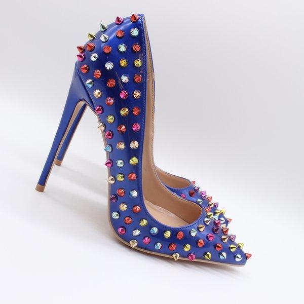Real photo Fashion Damen Königsblau Lackleder Nieten Nieten Nieten Sexy High Heels Schuhe Pumps 10cm Stilettos