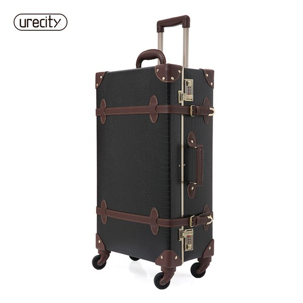 2018 retro luggage Crocodile leather suitcase black and brown travel luggage spinner high quality free shipping fashion rolling