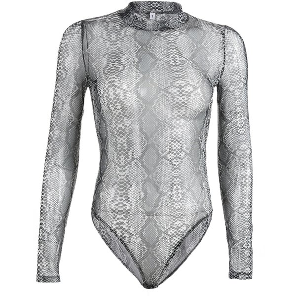 Fashion Women Snake Print Turtleneck Bodysuit Long Sleeve Skinny Bodycon Playsuit Mesh Jumpsuits