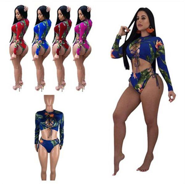 Women Floral Bikinis Long Sleeve Cross Strap Crop Top Hipster Swimsuit Flowers Print Swimwear Swim Shorts Beach Wear Bikini Set 2019 C3206