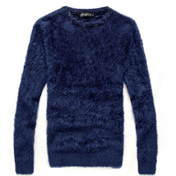 Свитер мужской осенью и зимой толстый мохер с длинными рукавами O-образным вырезом вязать свитер / Мода горячий тонкий Тонкий толстый теплый свитер
