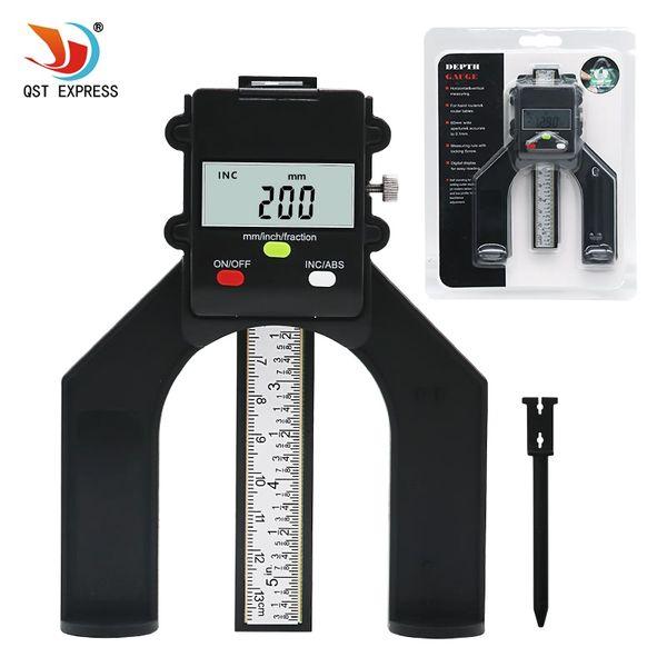 top popular Cheap Gauges QSTEXPRESS Digital Depth Gauge Digital Tread Depth Gauge LCD Magnetic Self Standing Aperture 80mm Hand Routers 2021