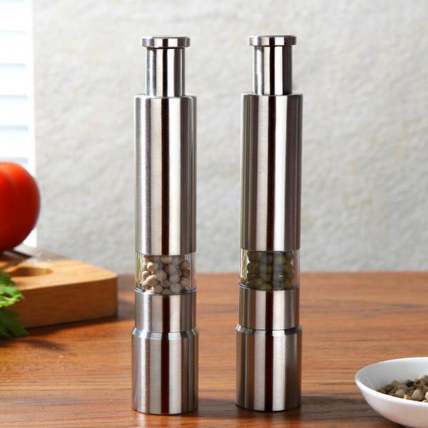 Nuevo Llega 50 unids / lote molinillo de pimienta de acero inoxidable Portátil Pimienta Muller Condimento Molienda Fresadora LX6433