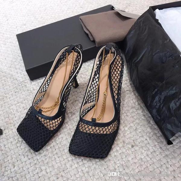 Scarpe in mesh traspirante da donna, tacchi alti Sandali svasati, pantofole con suola quadrata in pelle fatturata Taglia 35-39