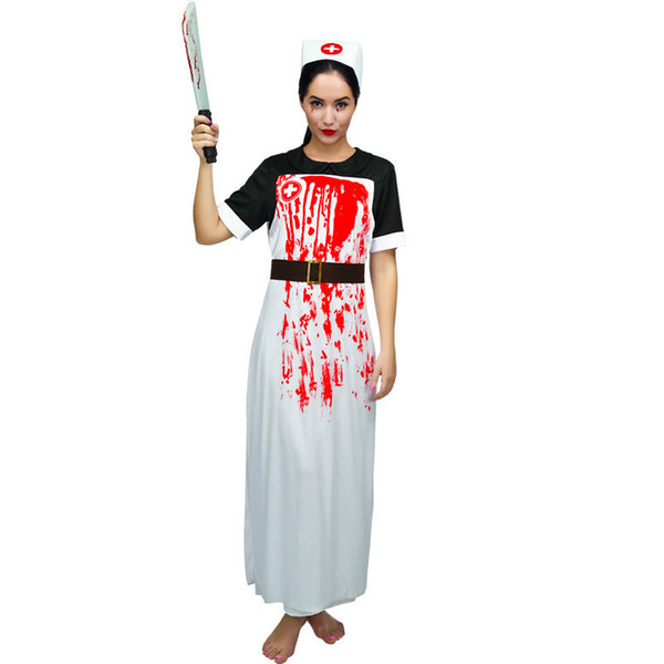 Women's Zombie Nurse Costumes For Halloween Scary Bloody Mary Students Roleplay Bloody Costume Party For Cosplay
