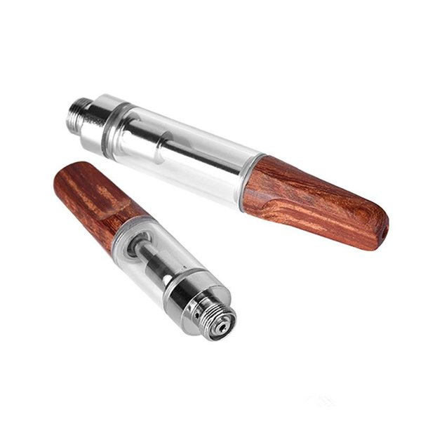 Hot in US TH2 Vape Ceramic coil Wooden mouth hash shatter Oil Vape Cartridge .5ml 1ml Vaporizer Pen with 2mm oil holes atomizer