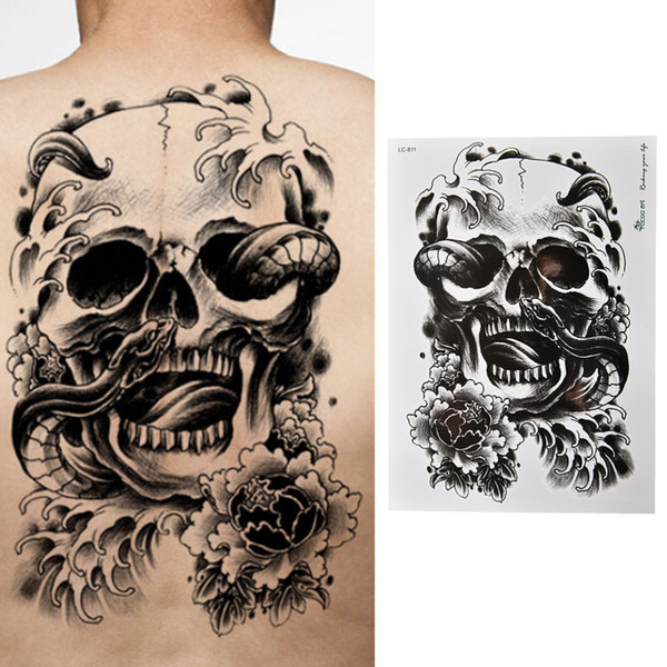 Best Selling Waterproof Black Scary Skull Temporary Tattoo Large Arm Body Tattoos Sticker High Quality Create Temporary Tattoo Custom Temporary