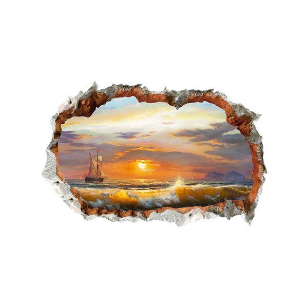 3D Гостиная Пляж Стикер Стены Виниловые самоклеящиеся Стены Сломанный Море Пейзаж Wall Art Наклейка для Украшения Дома