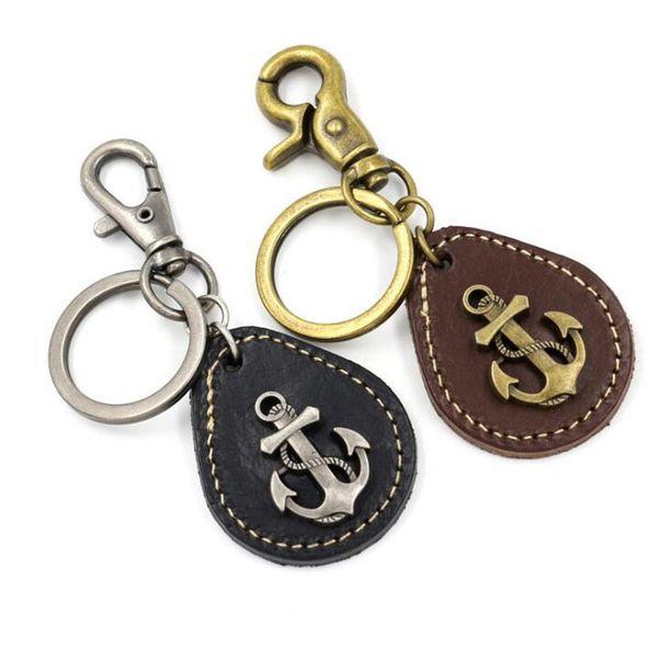 New Creative Zinc Alloy Ship Anchor Leather Key Chain PU Leather Alloy Key Ring Pendant Key Chain