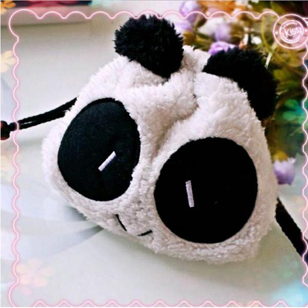 1 PC Plush Soft Panda Face Cosmetic makeup Pencil Case Pen Pocket Coin Wallet Drawstring Storage Toiletry Bag Pouch Gift Soft