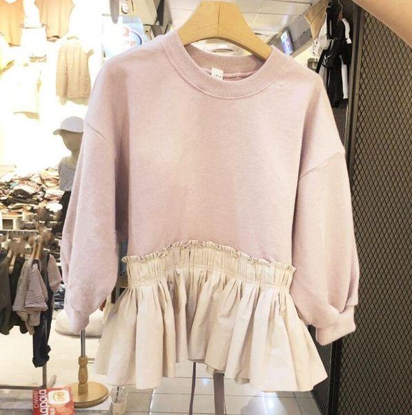 2019 Korean Style Girls Patchwork T-shirt Rüschen Bogen Frühling Baumwolle Mode Mädchen Top 2-7 t