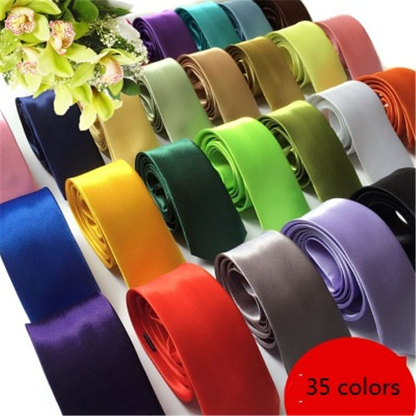 Estilo de la moda de Inglaterra Hombres Mujeres Flaco Color sólido Llanura Satén Poliéster seda Corbata Corbata Corbatas 35 colores 5cmx145cm boda corbata B11