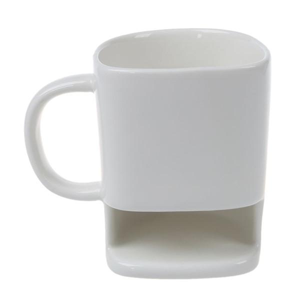 1PC 8.8oz Dunk Mug Ceramic Cookies Mug Cookie Coffee Cup with Biscuit Pocket Holder