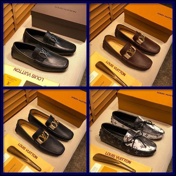 20MC été Hommes en cuir véritable Chaussures de sport de luxe Marques Hommes Mocassins évider respirante Chaussures de conduite Slip On Mocassins