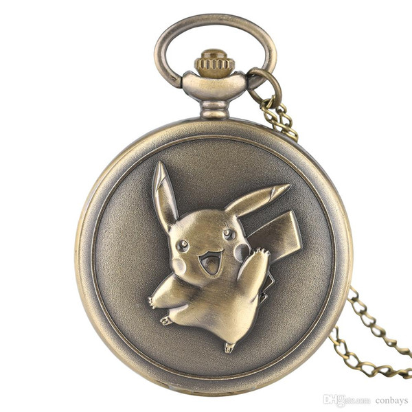 New Arrival Bronze Cute Pikachu Design Theme Quartz Pocket Watch Children Birthday Gift Vintage Pendant Clock for Boys Girls
