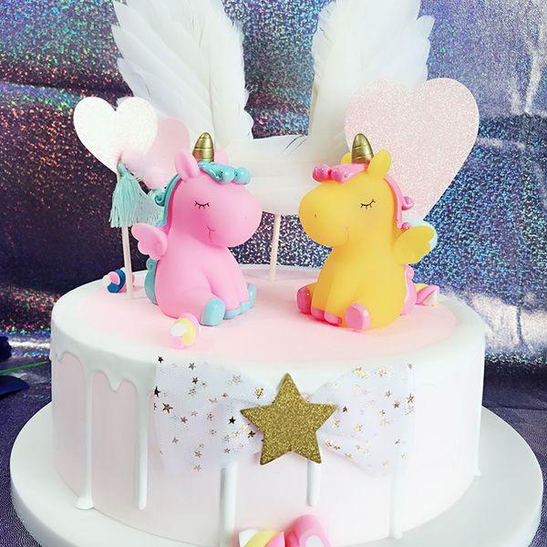 1PC Свадьба пользу Baby Shower Cute Sound Unicorn торт Топпер девушки DIY Декор Малые подарки Фавор Дети корабля