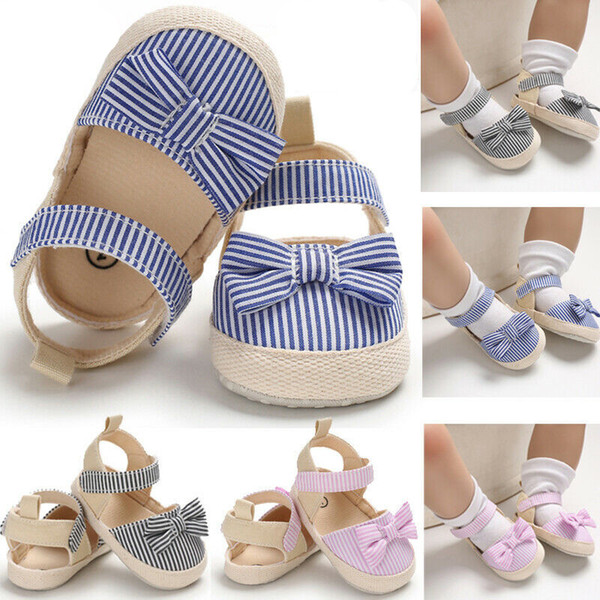 2019 Children Summer Shoes Newborn Infant Baby Girl Boy Soft Crib Shoes Infants Anti-slip Sneaker Striped Bow Prewalker