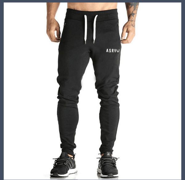 71535d6425834 Gimnasio Otoño color de contraste para hombre Pantalones de chándal de  algodón Gimnasia Ejercicio sólido pantalones masculinos Moda casual Lápiz  Pantalones ...