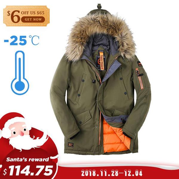 TIGER FORCE 2018 Men Parka Padded Coat Men's Winter Jacket Mens Thick Parkas Waterproof Artificial Fur Outerwear Winter Jacket