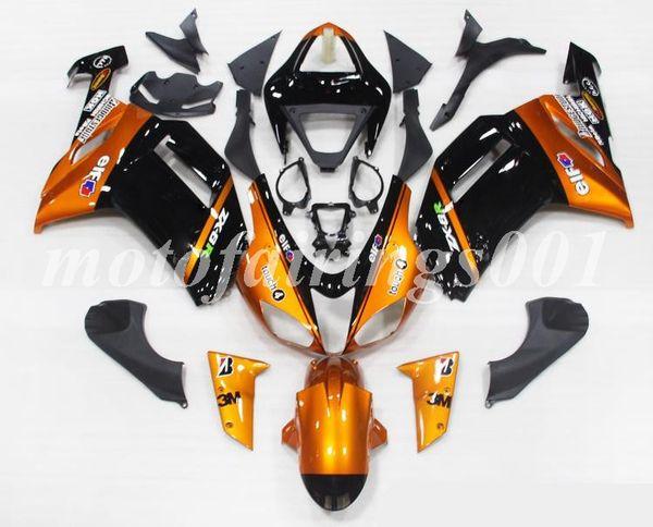 4Gifts Free Custom New ABS Bodywork set Carenado kits aptos para KAWASAKI Ninja ZX-6R 07 08 ZX-636 ZX636 ZX6R 2007 2008 ZX 636 Orange Cool