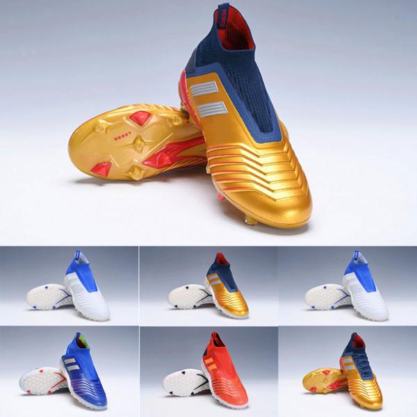 Livraison Rapide D'origine Predator 19+ FG TF Chaussures De Football Pour Pas Cher Bleu Or Blanc Designer de Sport Gazon Intérieur Bottes De Football En Crampons 2019