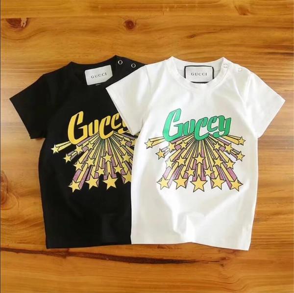 Sommer Meteorschauer Luxus Kinder T-Shirt Mode Druck Shirt Mädchen T-Shirt Top Baby Baumwolle T-Shirt Kurzarm