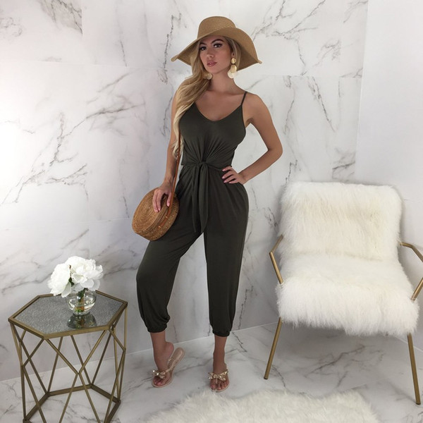New Arrival Spring Summer Women Sexy V-neck Solid Bodysuit Female Loose Casual Sleeveless Jumpsuit