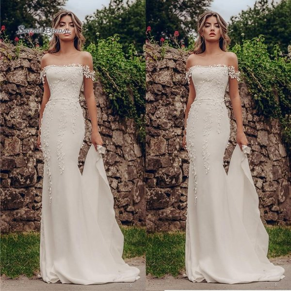 best selling 2019 Off Shoulder Mermaid Sweep Tulle Bride Dress Appliques Sleeveless Wedding Bridal Gown High-end Wedding Boutique