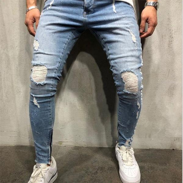 Pantalones vaqueros para hombre marca 2019 Pantalones vaqueros rotos con estilo Biker Slim Hip Hop recto pantalones de mezclilla deshilachados Nueva moda flaco