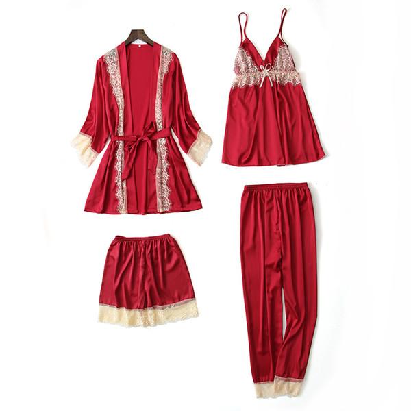 Quarteto feminino pijama de verão gelo seda serviço terno casa sensuais cinta bermuda fina além de peito pad sleepwear