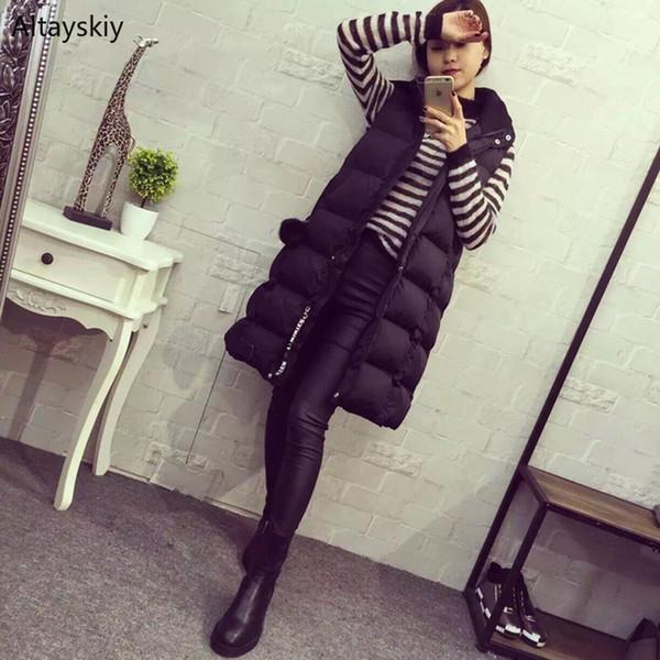 Yelekler Kadınlar Uzun Ceket Siyah Ince Zarif Sıcak Kış Kapüşonlu Kadın Cepler Büyük Boy Kadın Yelek Basit Trendy Tek Göğüslü